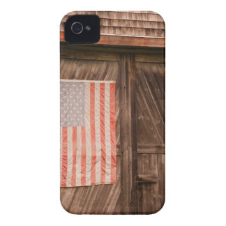 Maine, Faded American flag on door of old barn iPhone 4 Case