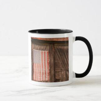 Maine, Faded American flag on door of old barn Mug