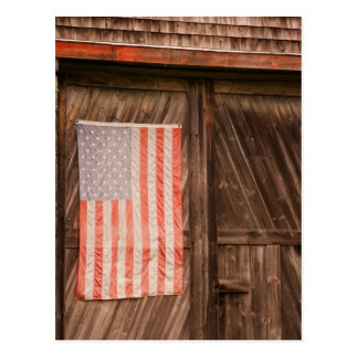Maine, Faded American flag on door of old barn Postcard
