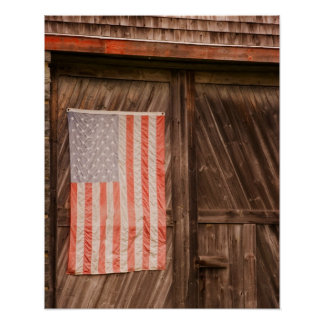 Maine, Faded American flag on door of old barn Poster