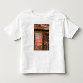 Maine, Faded American flag on door of old barn Toddler T-shirt