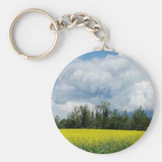 Maine Farmland Basic Round Button Keychain