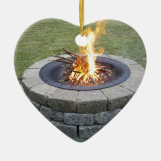 Maine FirePits! Double-Sided Heart Ceramic Christmas Ornament