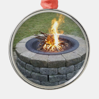 Maine FirePits! Round Metal Christmas Ornament