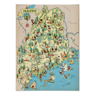 Maine Funny Vintage Map Poster