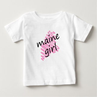 Maine Girl with Scribbled Maine Map Baby T-Shirt