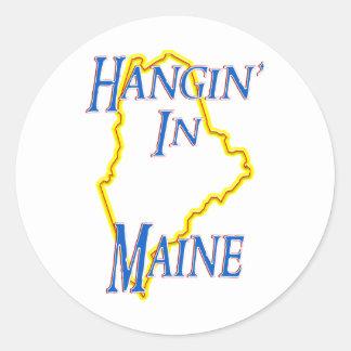 Maine - Hangin' Classic Round Sticker