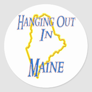 Maine - Hanging Out Round Sticker