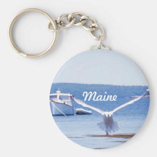 Maine Harbor Basic Round Button Keychain