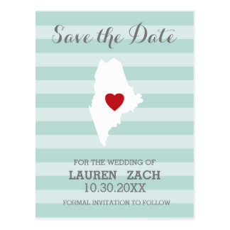 Maine Home State City Wedding Save the Date Postcard