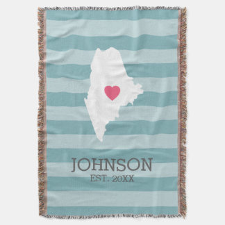 Maine Home State Map - Custom Wedding City Throw Blanket
