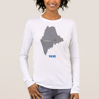 MAINE Home Town Personalized Map 2 Long Sleeve T-Shirt