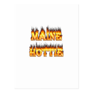 Maine Hottie Fire and flames Postcard