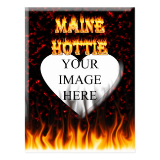 Maine Hottie fire and red marble heart. Postcard