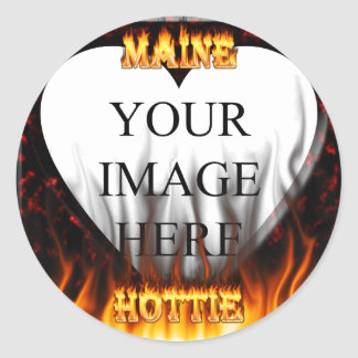 Maine Hottie fire and red marble heart. Round Sticker