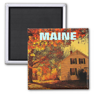 Maine House Yellow, MAINE 2 Inch Square Magnet