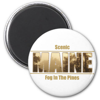 MAINE Image text - Fog In The Pines 2 Inch Round Magnet