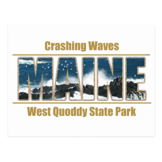 Maine Image Text - Waves Crashing Postcard