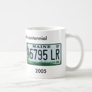Maine license plate centennial coffee mug
