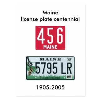 Maine license plate centennial postcard