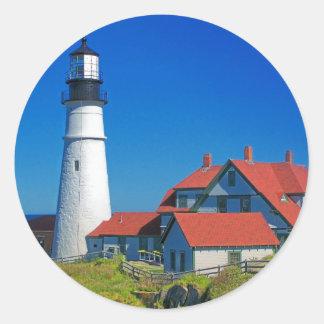 Maine Lighthouse 5 Classic Round Sticker