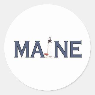 Maine Lighthouse Classic Round Sticker