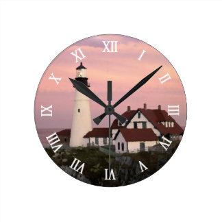 Maine Lighthouse Round Clocks