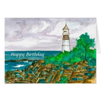 Maine Lighthouse Happy Birthday Card