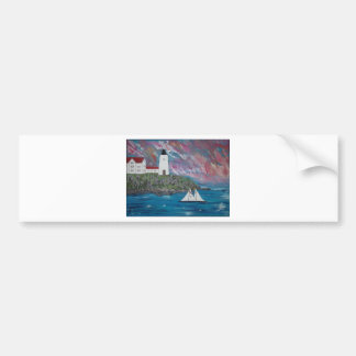 Maine Lighthouse Painting Car Bumper Sticker