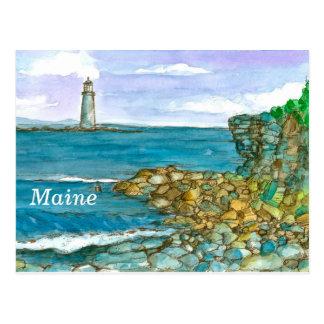 Maine Lighthouse Rocks Calm Ocean Postcard