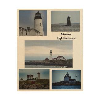 Maine Lighthouses Wood Wall Art