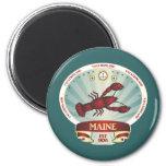 Maine Lobster Crest 2 Inch Round Magnet