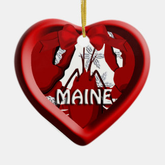 Maine Lobster Heart Christmas Ornament