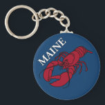 "Maine Lobster Keychain<br><div class=""desc"">Original digital graphic of a lobster celebrating the state of Maine.  This is an element in a mandala commemorating the Maine,  and is the first of what will be designs for all 50 states.  I have an explanatory video on You Tube at my channel:  nightbloomingcards7.</div>"