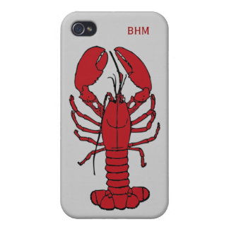 Maine Lobster Optional Initials Custom in Red iPhone 4/4S Case