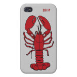 Maine Lobster Optional Initials Custom in Red iPhone 4 Cover