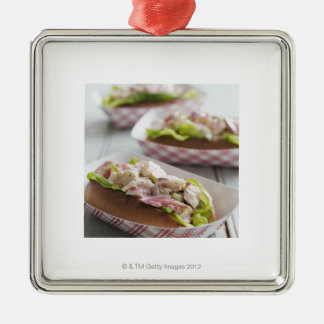 Maine Lobster Roll Square Metal Christmas Ornament