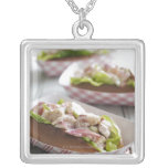 Maine Lobster Roll Square Pendant Necklace