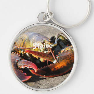 Maine Lobster Silver-Colored Round Keychain