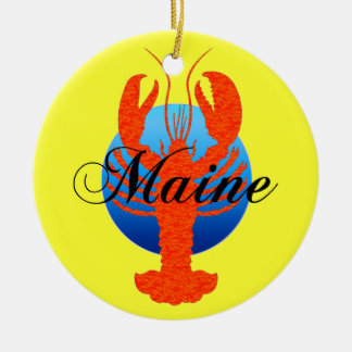 Maine lobsters Double-Sided ceramic round christmas ornament
