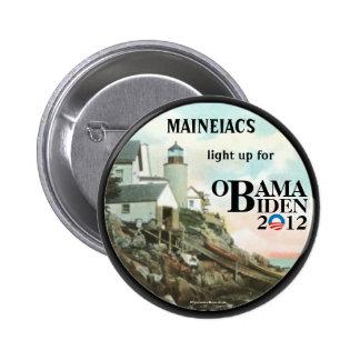 Maine Maineiacs para el perno político de OBAMA BI Pin Redondo De 2 Pulgadas