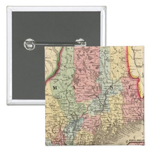 Maine Map by Mitchell 2 Inch Square Button