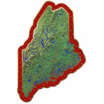 "Maine Map Christmas Ornament Cut Out<br><div class=""desc"">This acrylic ornament shaped from a relief map of Maine surrounded by festive trim will add novel Maine flair to your seasonal decorations. Also available as a pin,  magnet or keychain. 