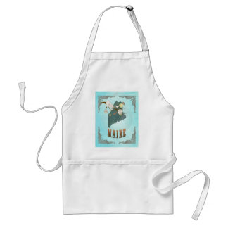 Maine Map With Lovely Birds Adult Apron