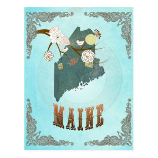 Maine Map With Lovely Birds Postcard