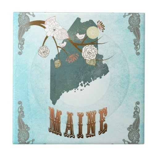 Maine Map With Lovely Birds Tile