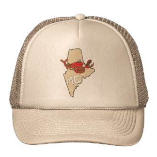 Maine ME Cartoon Map with Lobster Art Trucker Hat