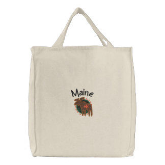 Maine Moose Embroidered Bag