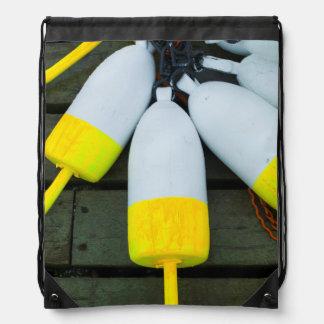 Maine, Mt. Desert Island, Bernard, lobster buoys 1 Drawstring Bags