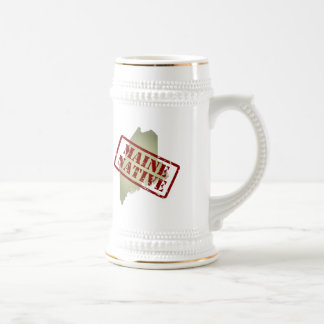 Maine Native Stamped on Map Beer Stein